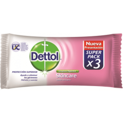 Dettol Jabon Barra 80grs X 3 Un Skinkare Antibacterial