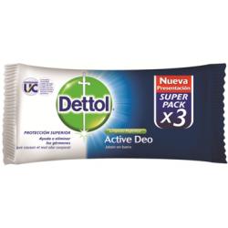 Dettol Jabon Barra 80grs X 3 Un Active Deo Antibacterial